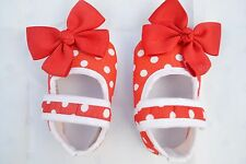 Red baby Polka shoes with bow design size 3-6 months (11 cm)