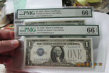 1928 -A Silver Certificates PMG GEM 66 Certified CONSECUTIVE PAIR FUNNYBACKS