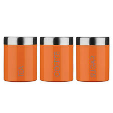 Set Of 3 Tea Coffee Sugar Canisters Kitchen Accessories Side Storage Pots Jars