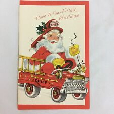 Vintage Christmas Card Santa Claus Fireman Helmet Hat Fire Fighter Chief Engine
