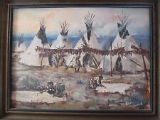 KEN SOWELL ORIGINAL OIL PAINTING, INDIAN WOMEN, TIPIS, BUFFALO HIDES, JERKY