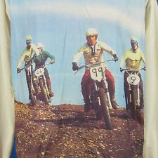 NOS vtg 70s MOTOCROSS PHOTO PRINT L/S T-Shirt M/L motorcycle mx biker jersey 80s