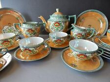 Vintage TT Takito Pink Flowers Floral 21 pc tea set Handpainted Red Letter Japan