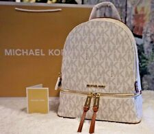 NWT MICHAEL Michael Kors RHEA Zip MK Medium Backpack PVC/Leather VANILLA $298