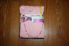 NWT Womens JUNE & DAISY Flower Love Pink Black Pajamas L/S Sleepwear Set L 12-14