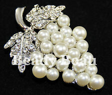 GRAPE VINE PEARL & CRYSTAL DIAMANTE BROOCH TIARA MAKING VINTAGE STYLE BOUQUETS
