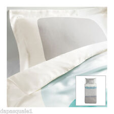 IKEA MALIN FIGUR - Duvet Quilt Cover and Pillowcase Twin Lyocell White Grey
