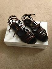 YSL Yves Saint Laurent brown leather flats strappy sandals shoes 37 Italy