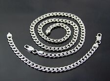 7mm Stainless Steel Curb Cuban Silver MENS Boy Chain Necklace Bracelet Set 24""