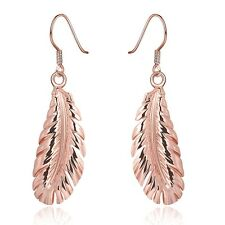 Women Dangle Feather Earrings 18K Rose Gold Plated Fashion Jewelry LF