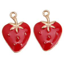 20x Red Enamel Gold Plated Strawberry Charms Alloy Pendants Jewelry Making BS