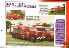 Fire engine Chassis GMC Fourgon-Pompe-Tonne Motopompe FICHE Pompier FIREFIGHTER