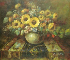 """Oil Painting of Still Life Yellow Flowers in Vase on Table Portrait 20x24"""""""