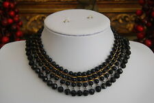 VINTAGE VICTORIAN REGINA FASHIONS BLACK CZECH CRYSTAL MOURNING CHOKER NECKLACE