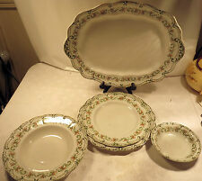Antique Set of Five Ridgway Clifton Pattern Platter/Plates/Bowls from 1905