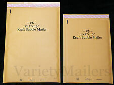 10 KRAFT BUBBLE SHIPPING PADDED MAILING ENVELOPE COMBO ~ TWO LARGE SIZES ~