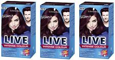 3 X Schwarzkopf Live Intense Colour Cyber Purple 46