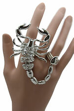 Women Ring 2 Fingers Fashion Jewelry Silver Metal Big Long Scorpion Elastic Band