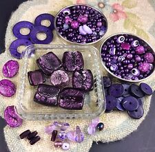 Purple Mixed Bead Lot 300+ Glass Plastic Faux Pearl Evil Eye Disc Shell Crafter