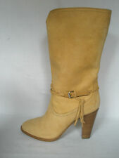 NEW RALPH LAUREN Ladies BOOTS Nala Sand Brown Leather Heels UK 6.5 EU 39.5