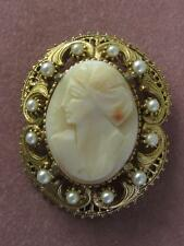 VTG FLORENZA CARVED SHELL CAMEO W/ FANCY FAUX PEARL FRAME PIN/ PENDANT