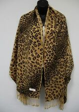 New Women Animal Print Leopard Cheetah Pashmina Scarf Shawl Silk Soft Wrap Brown