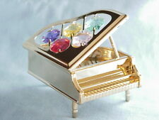 24K GOLD PLATED GRAND PIANO SWAROVSKI CRYSTAL SOUVENIR FROM DUBAI UAE