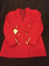 Military Style Red Blazer With Gold Buttons Size 12
