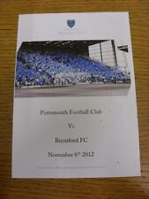 06/11/2012 Portsmouth v Brentford - Chimes Matchday Menu, Colour Four Pages (sli