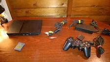 SONY PLAYSTATION 2 PS2 SLIM BLACK & 15 GAMES starter bundle #S67B43