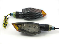 Motorcycle Motorbike Carbon Look E-marked Pair LED Indicators with Orange Tips