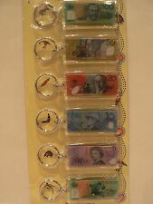 AUSTRALIAN SOUVENIR  KEY RINGS  Australia Money Set of Six