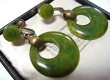 VINTAGE Antique ART DECO Geometrical Green Marbled BAKELITE Tested Drop Earrings