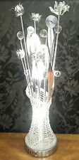 SILVER  ALUMINIUM  WOVEN WIRE FLORAL TABLE/FLOOR LAMP METALLIC FLOWERS CRYSTALS