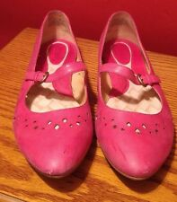 Born Womens Red Magenta Leather Mary Jane Ballet Flats 9.5