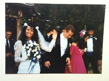 Vintage 80s Photo Outdoor Wedding Asian Wife Blonde American Husband Waving Hand