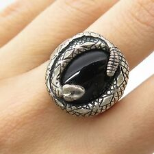 Carolyn Pollak 925 Sterling Silver Real Black Clinics Gemstone Snake Ring Size 9
