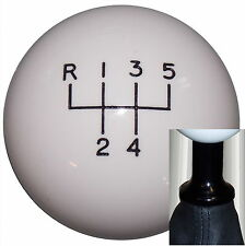 White 5 Speed shift knob kit fits non-threaded VW Audi blk, 5UR-RUL U.S Made