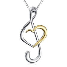 (Musical Note Necklace Pendant) 925 Sterling Silver Jewelry For Women Box Cha...