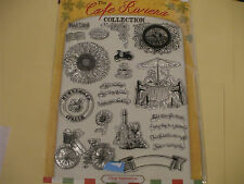 A4 Sheet of 21:- The Cafe Riviera resin  Stamps [Bike / sentiments & more]