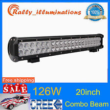 20INCH 126W LED LIGHT BAR WORK FLOOD SPOT COMBO 4X4WD BOAT UTE DRIVING LAMP CREE