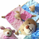Personalised Baby Teddy Comforter Blankie Bear Comfort Blanket PINK or BLUE soft