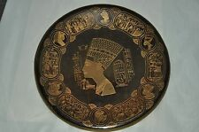 Vintage Egypt Cleopatra Detailed Engraving Brass Plate Egyptian Hieroglyph