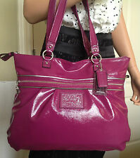 NWT COACH POPPY BERRY PURPLE PATENT LEATHER  GLAM TOTE BAG PURSE