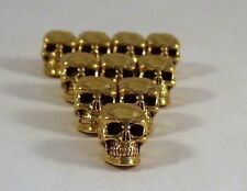 10 Gold Tone Pewter Beads-12mm SKULL-4.5mm Vertical Hole  - 1865