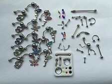 50Pc  NAVEL BELLY RING RHINESTONE BUTTON BAR NOSE RING BODY PIERCING JEWELRY