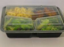 12 Sets 3 Compartment Microwave Safe Food Containers with Lids/divided