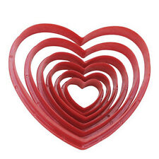 Heart Shaped Cookie Biscuit Mold Pastry Fondant Dough Cutter Baking  6Pcs /Set