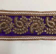 ATTRACTIVE INDIAN PURPLE GOLD PAISLEY EMBROIDERY SILKY FABRIC TRIM/LACE-One MTR