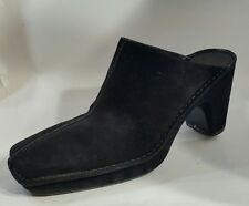 LINEA PAOLA  sz 8.5M Black Suede Leather Slip-On Mules 3.5 in Heel Shoes Clogs